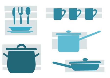 Ustensiles de cuisine, le bleu et le vecteur de beaut�