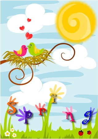 Beauty colorful vector illustration - spring time, love in the air