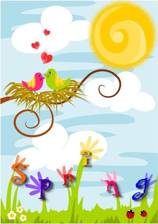 Illustration vectorielle beaut� color�e - au printemps, l'amour dans l'air