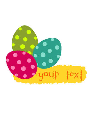 Simple easter illustration three colorful eggs with place for your text. Stock Vector - 12492980