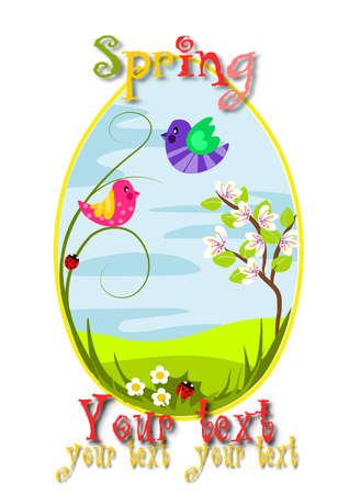 Spring egg with beauty landscape - vector illustration.