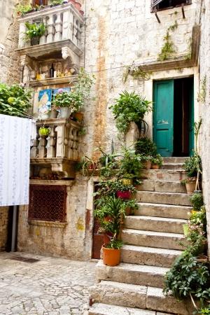Beauty and colorful courtyard in Trogir, Croatia