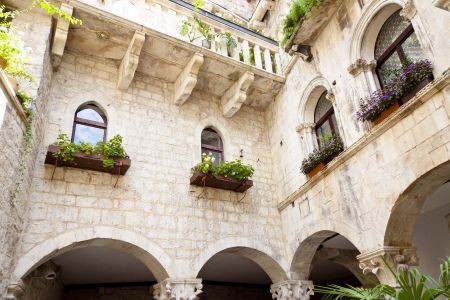 Courtyard of old tenement house - Trogir, Croatia  photo