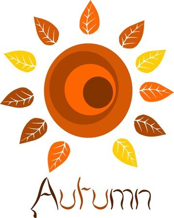 water fall: Autumn colorful sun  Beauty but simple illustration  Illustration