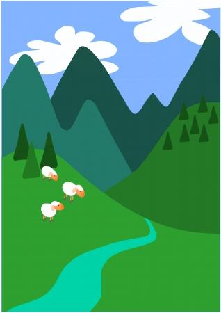 Trois moutons peu sur les grandes montagnes
