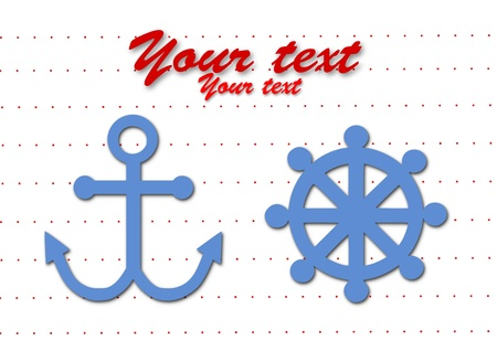 Rudder and anchor simple symbol  Vector