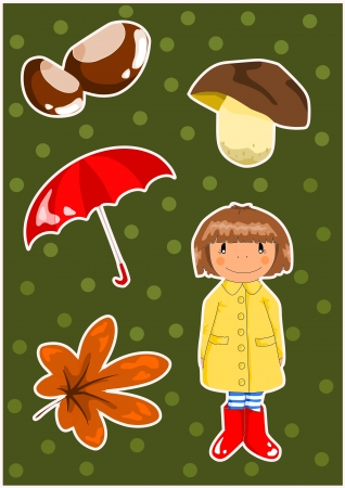 Autumn elements on the green background  Vector