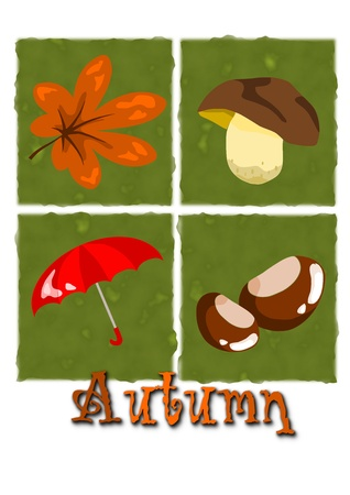 Four autumn symbols on green background  Stock Vector - 15309455