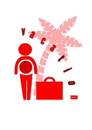 Businessman with suitcase go to holidays  Vector