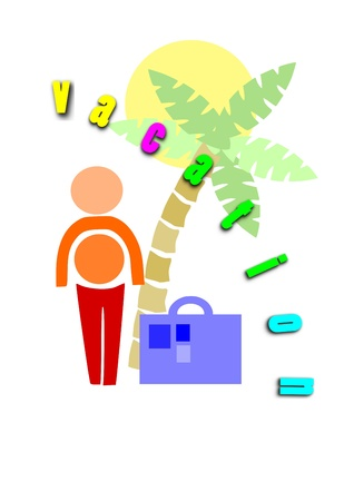 Man go to holidays - colorful illustration  Vector