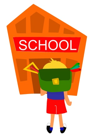 bot: Young bot going first time to school  Illustration