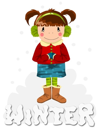 Young happy girl in winter timeillustration  Vector