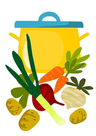 Pot and things for tasty soup  Illustration