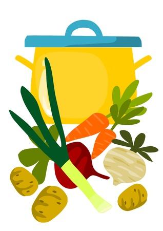 Pot en dingen voor smakelijke soep