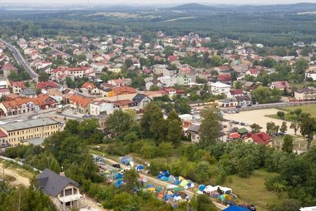 Aerial view on Olsztyn town, Poland, Silesia. Stock Photo