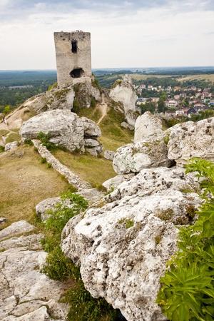 jura: Old fortification in background Olsztyn town near Czestochowa. Poland, Silesia.