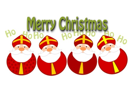 Funny christmas illustration - four happy santa clauses   Vector
