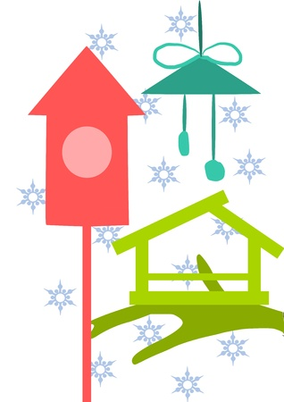feeder: Three beauty colorful bird feeder - vector illustration