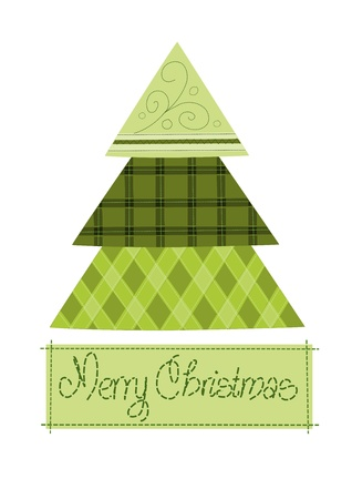 Green pattern christmas tree - vector illustration   Vector