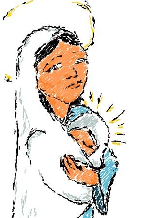 virgen maria: Simple ilustraci�n - Madonna con ni�o