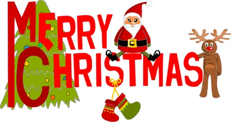 Merry christmas colorful and pattern text