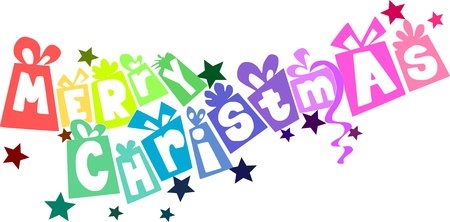 Colorful gifts - christmas text Vector