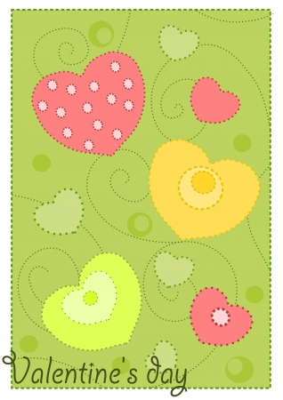 Colorful hearts on green background - wallpaper for valentines day.  Stock Vector - 15644262