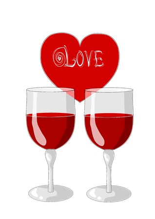 One heart and two glasses of wine - valentines day Stock Vector - 15644260