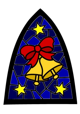Two golden christmas bells on blue stained-glass window