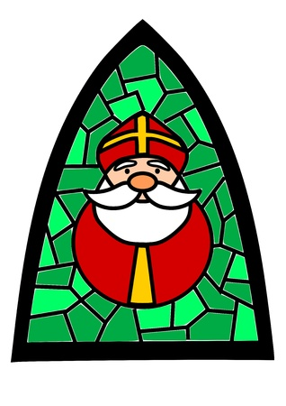 Green simple stained-glass with Santa Claus