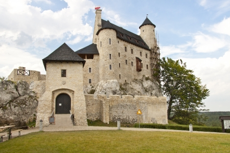 jura: View on front of Bobolice Castle in Silesia region - Poland  Editorial