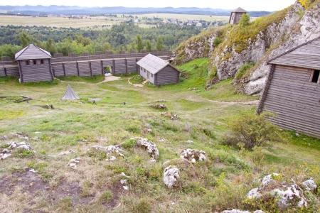 jura: Old settlement on Birow mountain near Ogrodzieniec - Poland, Silesia Region  Stock Photo