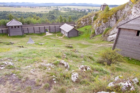 ogrodzieniec: Old settlement on Birow mountain near Ogrodzieniec - Poland, Silesia Region  Stock Photo