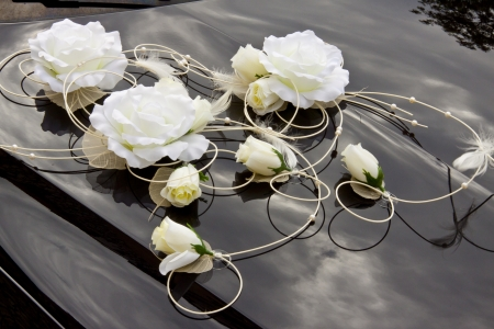 church flower: White flowers on black  hood - wedding decoration.