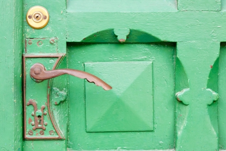 View on detail of wooden green door. photo