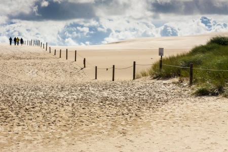 cloud drift: Sandy path in Leba, Dunes National Park - Poland.