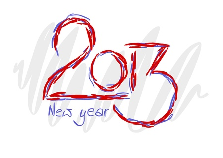 next day: 2013 text for new year - colorful illustration.  Illustration