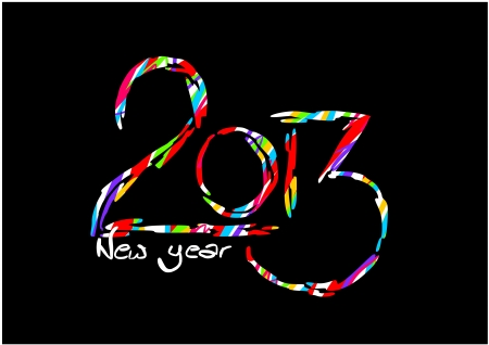 Happy new year card on black background - 2013 Stock Vector - 16162629