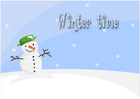 Happy snowman on the hill in winter time - vector illustration. Stock Vector - 16162632