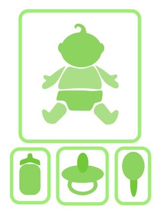 De simples ic�nes - b�b� et accessoires, illustration vectorielle. Illustration