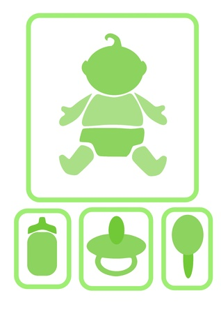 overall: Simple icons - baby and  accessories, vector illustration.  Illustration
