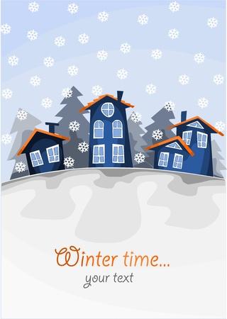 Voir le petit village sur la colline en hiver. Illustration