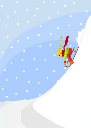 Girl on the sled - white hill, winter time.  Vector