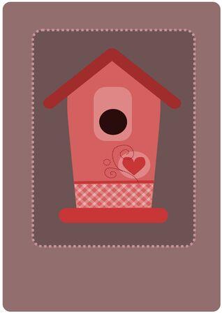 feeder: Pink empty bird feeder - vector illustration.