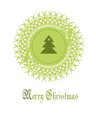 Round christmas decoration with spruce in center.  Vector