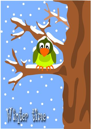 Winter time - sparrow on the branch.  Vector