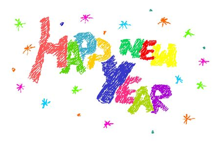 Colorful simple text - happy new year. Stock Vector - 16162637