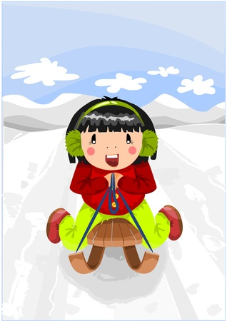 Relax time - girl on the wooden sled. Vector