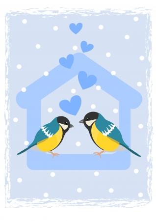 Two tits in bird feeder - winter time. Stock Vector - 16162635