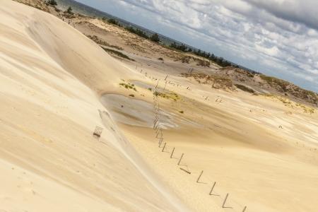 cloud drift: View on beauty Polish nature - dunes, Leba. Stock Photo